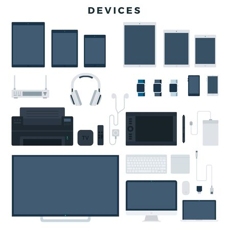 Modern electronic devices, set. Popular gadgets for office and home use. Vector illustration, isolated on white background. Ilustracja