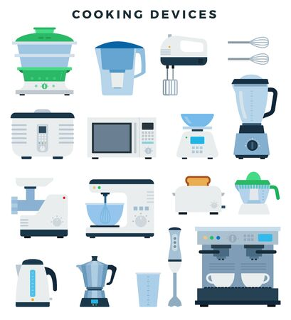 Kitchen appliances and electronics, colorful flat design icons set. Vector illustration, isolated.