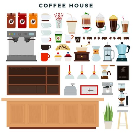 Coffee house, set of elements. Coffee shop interior, equipment, different types of coffee drinks. Vector illustration.