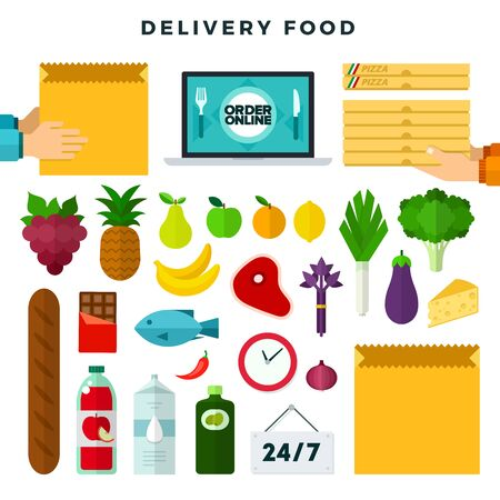 Online ordering and delivery food, set of icons. Grocery delivery. Colorful vector illustration.