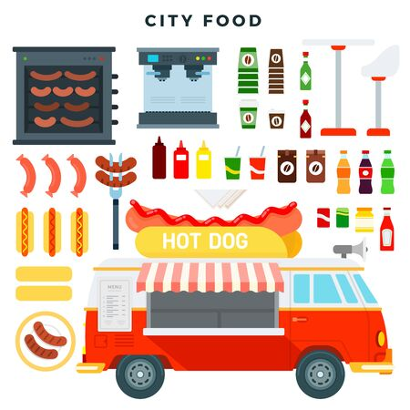 Hot dog truck. Fast food mini van and set of various street food and drink. Vector illustration in flat style. Ilustración de vector