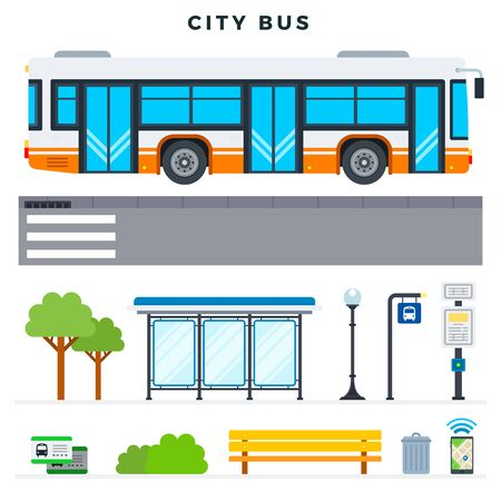 City bus. Bus stop, outdoor and city elements, set. Modern flat design concept for web sites, banners, infographics. Vector illustration.  イラスト・ベクター素材