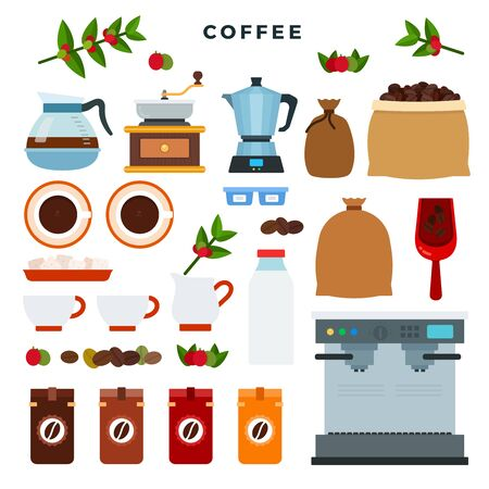 Collection of vector icons on coffee theme. All stages on the way from growing coffee berries to making a drink. Equipment and tools. Vector illustration. Illustration