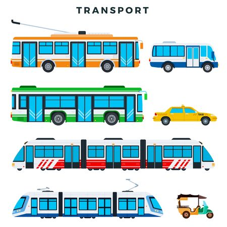 Collection of public transport. Municipal city transport, vector icons. Illustration in flat style.