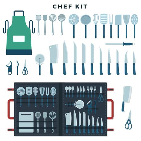 Chef kitchen tools set. Collection of tools for cooking, knives for meat and vegetables, kitchenware equipment with text Chef Kit. Vector illustration.