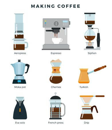 Equipment for various ways to brew coffee, detailed flat icon set. Different coffee making methods. Vector illustration.
