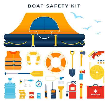 Boat safety kit, set of icons. Water rescue. Survival after a ship wreck. Equipment and tools for saving life. Vector illustration. Ilustração