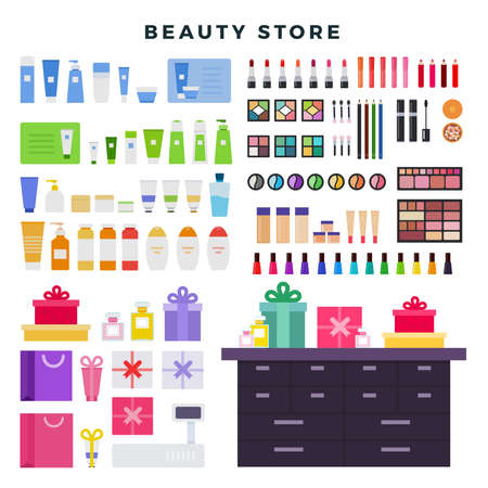 Beauty store with decorative and care cosmetics, big set of icons. Different cosmetics, gifts, creams, isolated on white background, vector illustration.