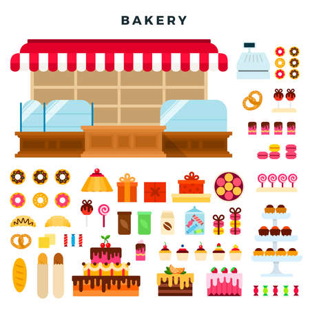 Confectionery counter and bakery products. Isolated on white. 向量圖像