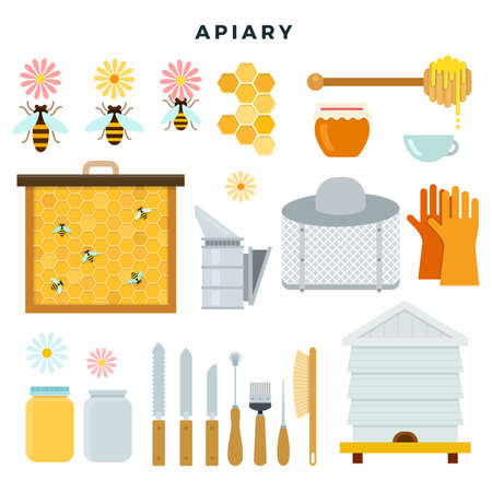 Apiary tools and equipment, set of icons. Everything for beekeeping. Vector illustration in flat style.