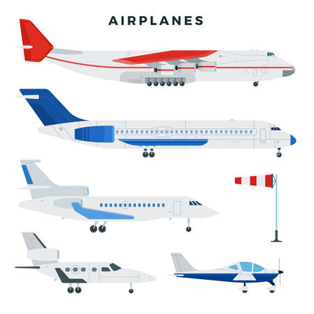 Passenger and cargo airplane, set. Airplanes, side view. Modern types of planes. Vector illustration.