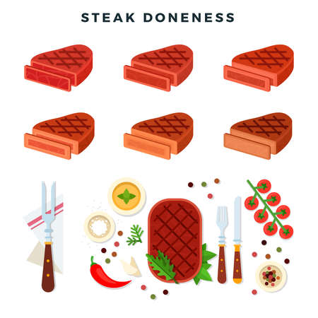 Steak doneness illustration, set. Different stages of steak. Blue rare, rare, medium rare, medium, medium well and well done. Steaks, tomato, pepper, greens, condiments. Vector illustration. Banco de Imagens - 150580159