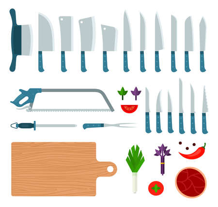 Set of Meat Knifes icons flat vector