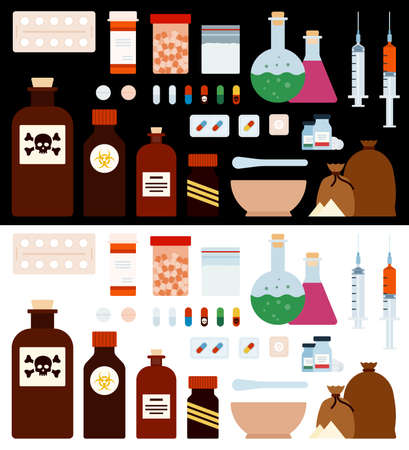 Medicine and Drugs Set vector flat icons. Isolated on white and black