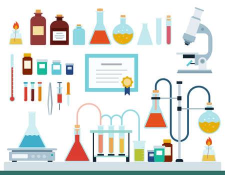 Set of Medical Laboratory flat vector illustration. 일러스트