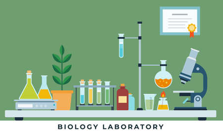 Biology laboratory vector illustration in flat style.