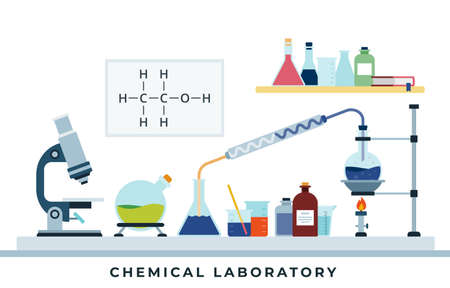 Laboratory of chemical research flat design vector illustration. Vectores
