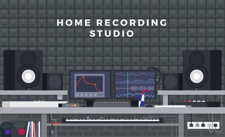 Illustration of home recording studio on background of a mosaic wall of gray tiles flat vector set
