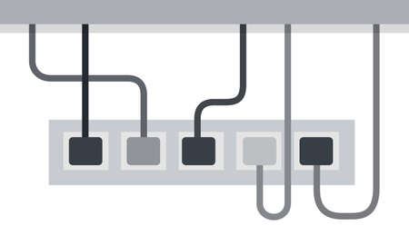 Power strip from five outlets, power cords included Musician vector icon flat isolated illustration.