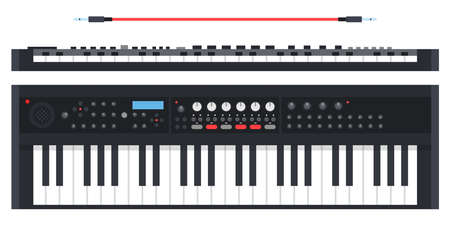 Electronic keyboard musical instrument synthesizer Musician vector icon flat isolated illustration.