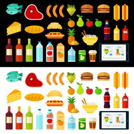 Home delivery food order vector flat icons. Isolated on white and black