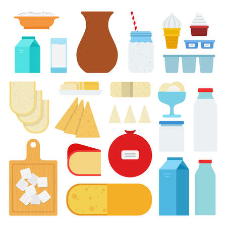 Set of Milk Products and Lactose icons flat vector