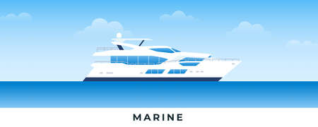 Marine boat in sea. Vector flat illustrations. Marine passenger powerboat on backdrop sea and sky. Çizim