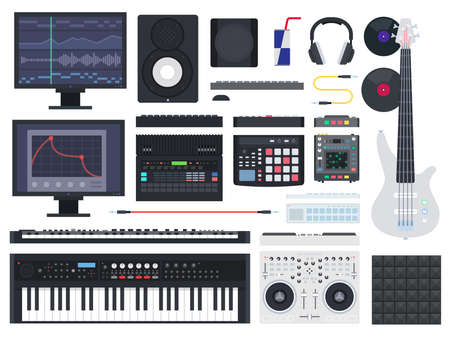 Set of Music Studio icons flat vector
