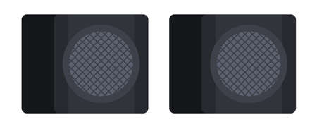 Two square small speakers with subwoofers for music Musician vector icon flat isolated illustration.