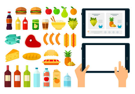 Set of Online Products Online icons flat vector