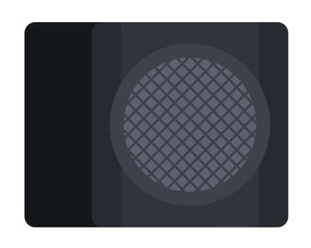 Musical subwoofer, speaker producing musical waves Musician vector icon flat isolated illustration. Çizim