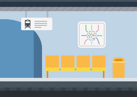 A bench with yellow seats, against the background of a blue metro station with an arch, signs with a train schedule, a route diagram vector icon flat illustration isolated on white