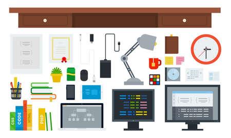 Set of Programming Workspace icons flat vector illustration