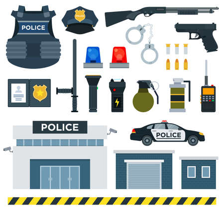 Set of Police Tools flat vector illustration on white.
