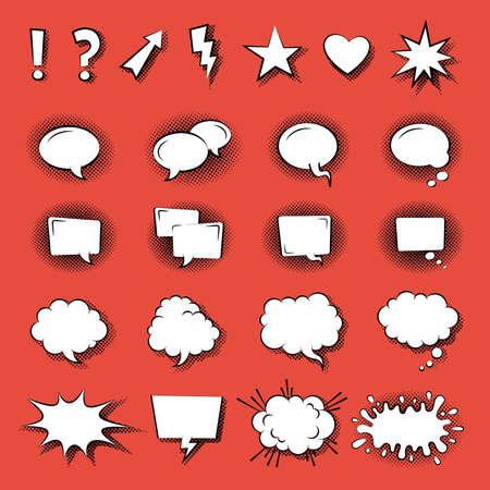Speak Bubble icons flat vector on red background