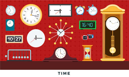 Different clocks from antiques to modern on wall and table. Vector flat illustrations. Set of watches - alarm, tower, smartwatch, wristwatch, hourglass, wall clock.