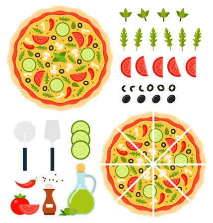 Set of Pizza Vegetarian icons flat vector illustration