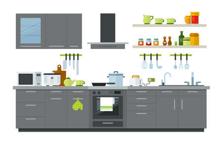 Illustration of a kitchen interior with gray furniture, cooker hoods, microwave, slow cooker, toaster, dishes, kitchen utensils, a set of knives, seasonings and jam in jars vector flat illustration