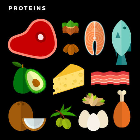 Products containing protein flat isolated on black Illusztráció