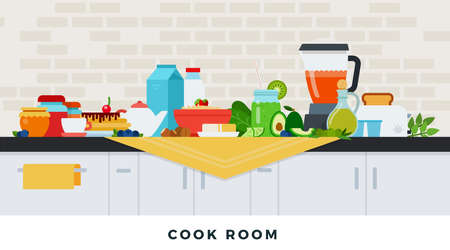 Cook room with healthy breakfast. Vector flat illustrations. Healthy eating concept.