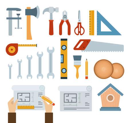 Set of _ , _. icons flat vector illustration