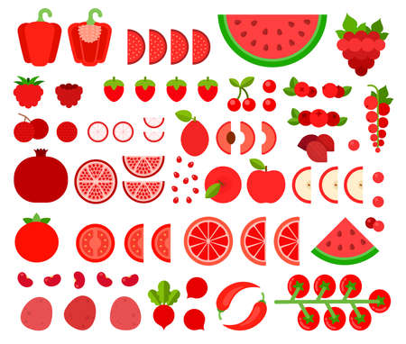 Set of Red Products icons flat vector Illusztráció
