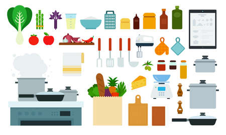 Set of kitchen devices icons flat vector Vettoriali