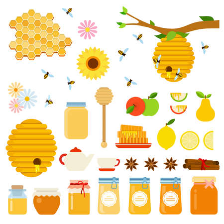 Set of Honey and Honeybee icons flat vector Ilustrace