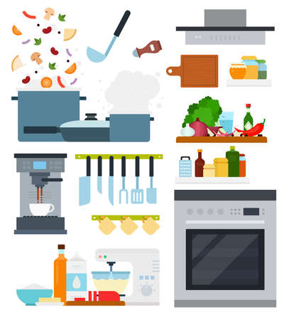 Set of Home Cooking icons flat vector