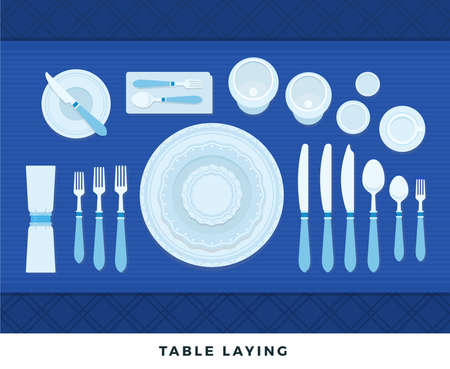 Table laying. Vector flat illustrations. Served table in restaurant on formal dinner. Иллюстрация