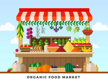 Organic food market flat style illustration