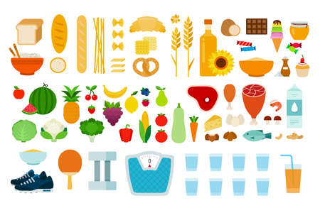 Set of Types of food icons flat vector Vektorové ilustrace