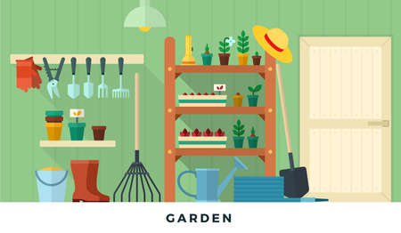 Garden pantry room with tools. Vector flat illustrations. Concept of gardening. 일러스트