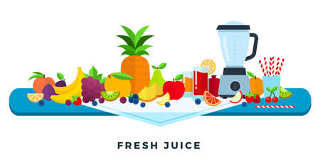 Fresh juice vector flat illustration. Fruits juices. Assorted fruits and berries.